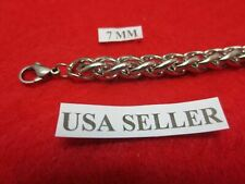 """28""""  7 mm Stainless Steel Silver Braided Wheat Rope Chain Necklace USA Seller"""