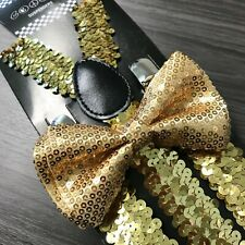 Gold Sequin Suspender + Clip on Bow-Tie Matching Set for Adults Men Women