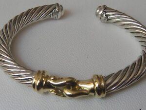 $1900 DAVID YURMAN 18K GOLD, SS BUCKLE CABLE BRACELET LARGE