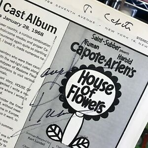 1968 Truman Capote / Josephine Premice Autographed Record Album House Of Flowers