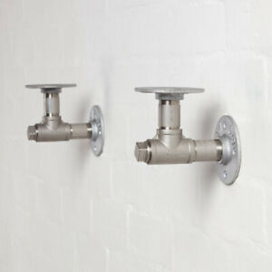 Industrial Pipe Shelf Brackets - Stainless Steel - T-Nut Style- Steampunk Unique