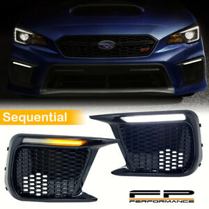 For 18-20 Subaru WRX / STI White/Amber Sequential/Switchback LED DRL Fog Bezels