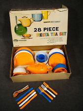 Vtg Play Tea Set Plastic Mego 28 Piece Fiesta British Colony