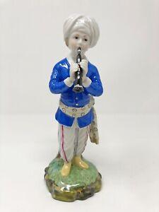 Höchster Porzellan Figur aus der Türkenkapelle Musikant mit Oboe Jacke blau 17cm