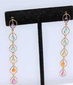 Marie Helene de Taillac Signature Rainbow Briolette Earrings in 22kt gold