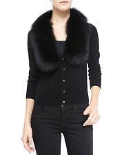 Milly Merino Wool Cardigan with Genuine Fox Fur Collar