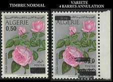 ALGERIE N°598a** surch. renversée + 4 barres annulation Cote > +++ 415€ Rose MNH
