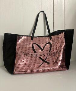 Victoria's Secret Showstopper Pink & Black Heart Sequin Weekender Tote Bag