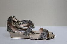 New sz 5 / 35 Jimmy Choo Chiata Lag Glitter Sandal Peep Toe Wedge Heel Shoes