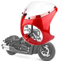 "UK Red 7"" Motorcycle Headlight Fairing Retro Cafe Racer Handlebar & Windshield"