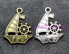 Tibetan silver charm pendant sailboat fit necklace Key chain 30/150pcs 27x21mm
