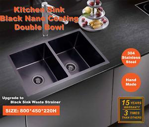 800*450*220 Kitchen Sink Laundry Handmade Black Nano Stainless Steel Double Bowl