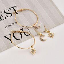 Tiny Gold/Silver/Black Star Moon Lovely Heart Shape Stud Earrings For Women Jewe