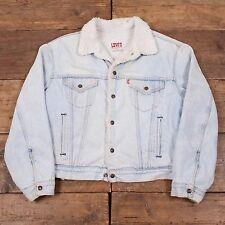 """Para Hombre Levis años 80 Vintage Sherpa del dril de algodón chaqueta de camionero Piel Forrada Talla Xl 48"""" R3704"""