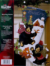"Bucilla Black Bear BonFire ~ 18"" Felt Christmas Stocking Kit #85467 Winter Cabin"