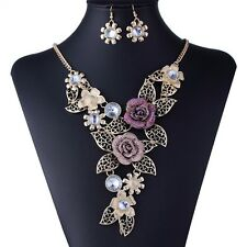 Fashion Charm golden Chain Crystal Choker Statement Bib Necklace earring set