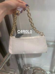 ZARA WOMAN ANIMAL PRINT SHOULDER BAG WITH CHAIN REF. ECRU WHITE | 6829/710