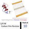 [10] 1/4 Watt Carbon Film Resistors [ Rated: 1 - 1.5M Ohm ] 5% Tol. [ by DAPET ]