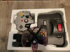 Nintendo 64 Console IN ORIGINAL BOX Atomic Purple & Gray Controllers READ DESC.