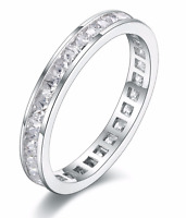 Ladies 925 Sterling Silver Luxury Engagement Wedding Eternity Band Ring