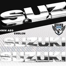 "CHROMED SILVER 4MM VERY 3D 6"" EMBLEM DECAL FAIRING/FENDER STICKER SUZUKI LOGO"