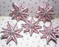 Shabby Christmas Chic Ornaments Decoration Pink Snowflake Lot 5 New )