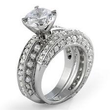 Sterling Silver 925 Ring Sz 6 Round Cubic Zirconia Wedding Bridal Set Engagement