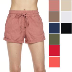 Womens Cotton Linen Elastic Waist Drawstring Shorts Loose S-3XL