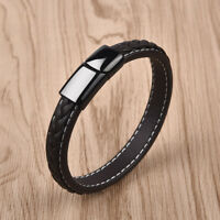 Trendy Braided Men Punk Leather Bracelet Jewelry Accessories Rock Gifts Brown