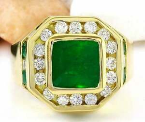 Men's Halo Engagement Anniversary Ring 2.50 Ct Emerald 14K Yellow Gold Filled