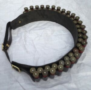 New Leather Cartridge Belt 12G OR 12 Bore with Brass Buckles.  (Double Belt)