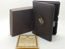 1984 Royal Canadian Mint $100 Gold Coin Proof Empty Brown Leather Box & COA