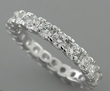 NEW STERLING SILVER CZ FULL ETERNITY WEDDING BAND RING SIZE 9 ROUND CUT U PRONGS