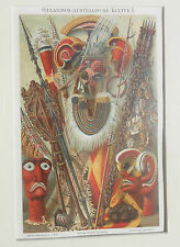 fine antique Meyers Lexicon African mask weapons lithograph print
