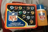 VINTAGE 1976 NFL / NFC AFC METAL LUNCH BOX AND THERMOS.