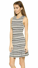 NWT Torn by Ronny Kobo ISADORA White Black Gray Corded Bubble Knit Dress M $398