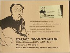 Doc Watson at Carnegie Lecture Hall, Oakland, CA Concert Handbill + Ticket, 1966