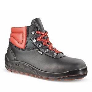 MENS SIZE 9 - 43 JALLATTE JALTARMAC BLACK RED SAFETY TOE OIL PROOF WORK BOOTS