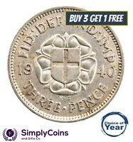 1937 TO 1944 GEORGE VI SILVER THREEPENCE 3D CHOICE OF YEAR / DATE (three pences)