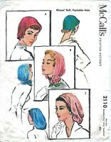 McCall's # 2110 SNOOD Soft Pack Hats Caps Fabric Sewing Pattern Chemo Alopecia