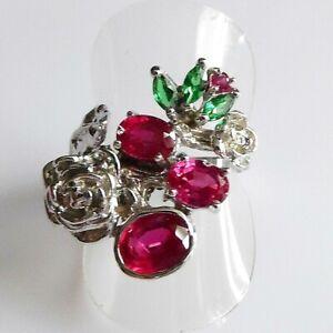 Handarbeit Oval Rubin Tsavorit Damen Rosen Silber Ring 925 17,5 mm 55