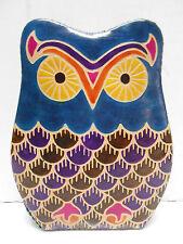 Leather Owl  Piggy Coin Bank India  Teal Aqua  Multi Color