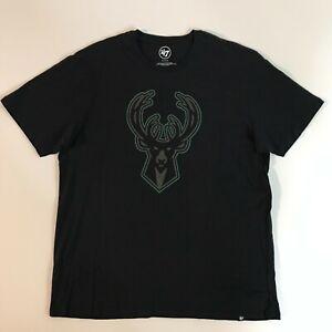 47 Brand Mens Size XL Milwaukee Bucks NBA Short Sleeve T-Shirt Black New 8495224