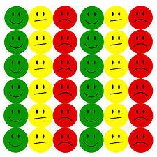 180 Gelbe Smiley Face Sticker ø 2cm - Lächeln Grün - Neutral Gelb - Traurig Rot