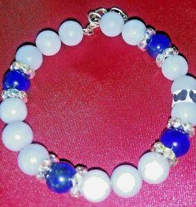 Aquamarine/Lapis Lazuli Gemstone Bracelet Memory Wire with Lobster Safely Clasp