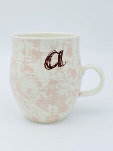 Anthropologie Homegrown Monogram Mug A Pink Floral