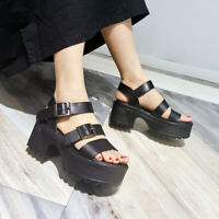Womens Leather Black Buckles Ankle Strap Platform Chunky Heel Sandals Shoes OOOS