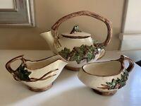 VTG McCoy Ivy Tea Set Pot with Lid & Sugar & Creamer Beige Brown Green USA