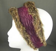 Purple Pink faux fur lined quilted ear warmer muffs head wrap hat cover ski