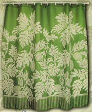 Hawaiian Tropical Floral Fabric Shower Curtain colorful Flora breadfruit green